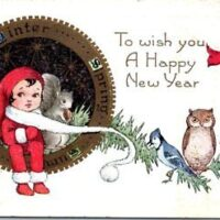 Vintage-Whitney-HAPPY-NEW-YEAR-Postcard-Little-Girl